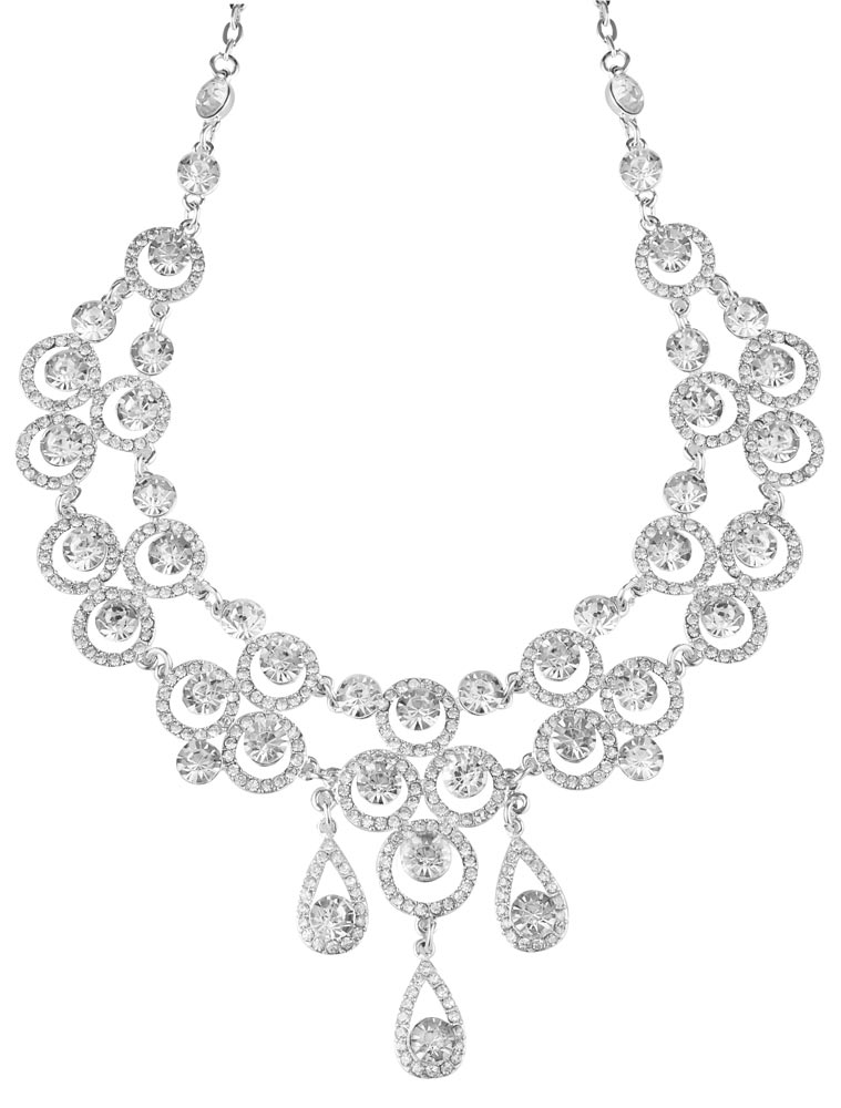 A lady wearing Classic kehle diamond earrings and necklace